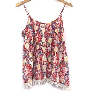 MOSSIMO Coral Red Ikat Aztec Tribal Boho Tank Top